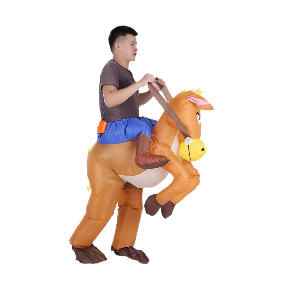 Funny Cowboy Rider on Horse Carnival Party