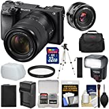 Sony Alpha A6300 4K Wi-Fi Digital Camera & 18-135mm Lens (Black) With 32GB Card + Lens + Battery + Charger + Flash + Kit