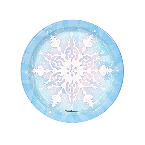 BirthdayExpress Snowflake Winter Wonderland Christmas Party Supplies - Dessert Plates (8) -