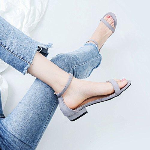Tobillo YMFIE tamaño Moda señoras 40 Sandalias Toe Europeo Toe 35 Simple Verano d F8Irx8q