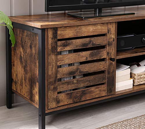 Farmhouse Living Room Furniture VASAGLE TV Cabinet for up to 50-Inch TVs, TV Stand and Console with Louvered Door, 2 Shelves, Living Room, Bedroom… farmhouse tv stands
