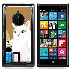 Jordan Colourful Shop - Big White Cat Art Comic Green Eyes Kettle For Nokia Lumia 830 - < Personalizado negro cubierta de la caja de pl??stico > -