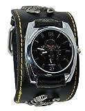 R.M. Punk Rock Skull Skeleton Leather Band Unisex Chain Bracelet Cool Wrist Watch,A26