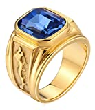Gnzoe Men Stainless Steel Ring for Father Class Ring Dragon Pattern Emerald-Cut CZ Stone Blue Size 9