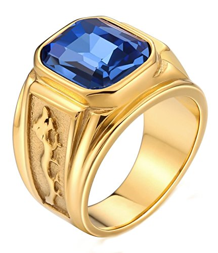 Aokarry Stainless Steel Ring for Men Father Class Ring Dragon Pattern Emerald-Cut CZ Stone Blue Size 12