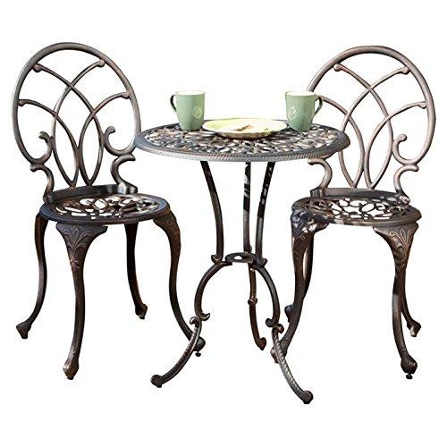 3 piece Las Palmas cobre de aluminio mesa de jardín al aire ...