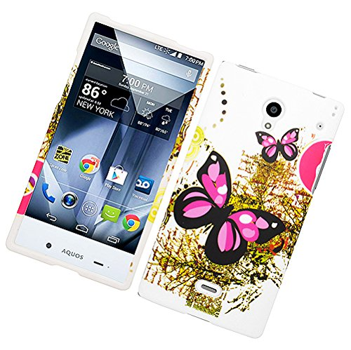 Eagle Cell Sharp Aquos Crystal Rubber Case - Retail Packaging - Two Pink Butterflies