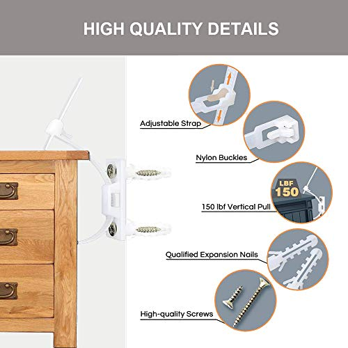 Adjustable Anti-tip Furniture Strap (6 Pack)   Safety Furniture Wall Anchors For Baby Proofing   Secure Bookshelf, Cabinet, Dresser, TV, Wardrobe from Falling…
