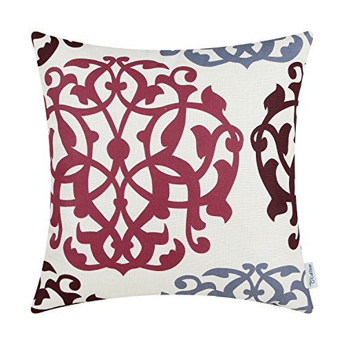 Print Pillow Geometric (CaliTime Canvas Throw Pillow Cover Case for Couch Sofa Home Decoration Three-Tone Floral Compass Geometric 20 X 20 inches Carmine/Coronet Blue/Russet Brown)