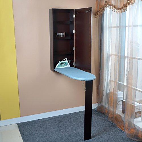 ViscoLogic Wooden Ironing Board in Mirrorerd Cabinet
