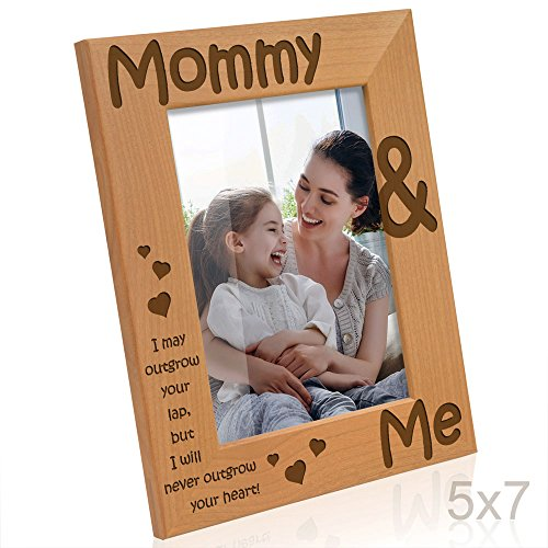 Kate Posh - Mommy & Me Engraved Natural Wood Picture Frame - Mother's Day Gifts, I Love Mommy Photo Frame, Christmas Gifts, New Baby Gifts, Nursery Picture Frame, New Mom Gifts (5x7-Vertical) -  A12916035