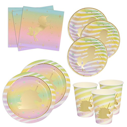 Gift Boutique Unicorn Birthday Plates Napkins and Cups with Gold Foil for 24 Guests 24 Dinner Plates 24 Dessert Plates 50 Luncheon Napkins and 24 Cups Unicorn Party Supplies Metallic Tableware Decor by Gift Boutique