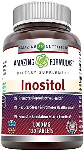 Amazing Formulas Inositol 1000 Mg 120 Tablets - Supports Healthy Liver Function, Promotes Cellular Detoxification and Supports Membrane Function