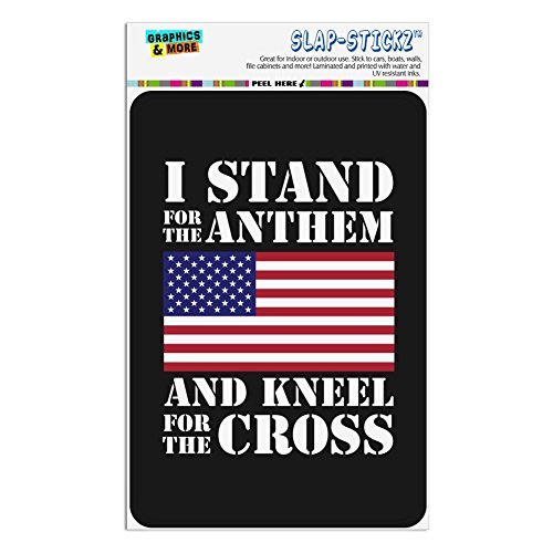 (Graphics and More I Stand For The Flag Kneel Cross USA American Flag Patriotic Home Business Office Sign - Window Sticker - 4