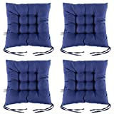 NewSoul1us 100% Cotton Chair Pads with Ties, 15'' X15'' Square Seat Cushions| Extra-Comfortable