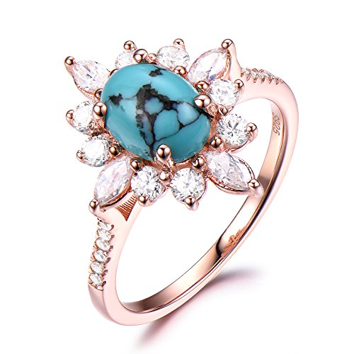 Black Blue Turquoise Engagement Ring CZ Cubic Zirconia Diamond Halo 925 Sterling Silver Rose Gold Flower by Milejewel Turquoise engagement rings