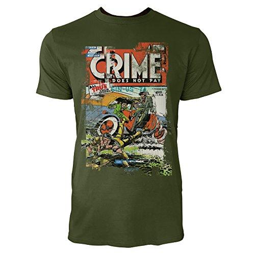 SINUS ART® Crime Does Not Pay Herren T-Shirts Armee grünes Cooles Fun Shirt mit tollen Aufdruck