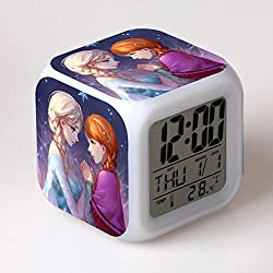 TEKIMBE Frozen Digital Alarm Clock Snow Princess Night Glowing Cube Colorful LED Clock Cute Cartoon Toys for kids Children Birthday Christmas gifts (NO.2)