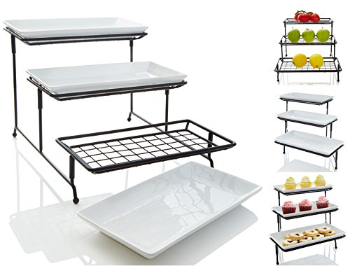 Buffet Server Set (Unique 3 Tier Mesh Serving Stand with Server Platters - Three White Porcelain Food Dessert Display)