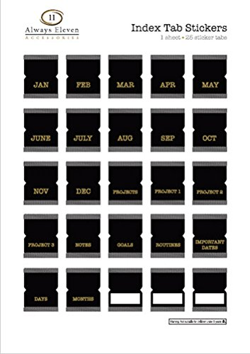 Index Tab Monthly Calendar Stickers for Planners, Agendas and Organizers (Black with Golden Text) (Month Tab)
