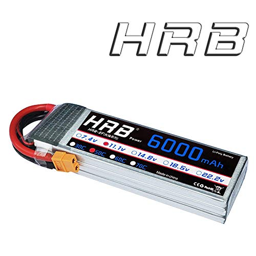 HRB 3S 11.1V 6000mAh 50C RC LiPo Battery Pack with XT60 plug For RC Helicopter RC Airplane RC (Lipo Race Pack)