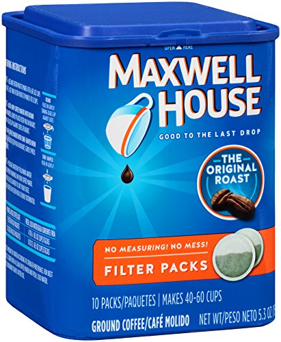 Coffee 4 Cup Filter Pack - Maxwell House Original Roast Filter Packs Ground Coffee, 4 Count