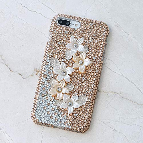 - iPhone XR Case, Bling Genuine Copper Crystals Golden Posies Flowers Diamond Sparkle Easy Grip Protective Case Cover [by Luxaddiction]