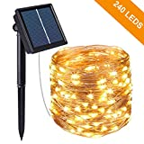 Kolpop Solar Fairy Lights Outdoor, 24m 240 LED Solar String Lights Garden 8 Modes Copper Wire Fairy Lights Decorative String Lights for Patio, Gate, Yard, Wedding, Party Decoration (Warm White)