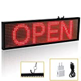 LED Sign Business Invention Leadleds LED Sign Board Reuseable Poster Kits Store Sign, Micro USB Programming Digital Sign 16x64, With Metal Chain, Red Message