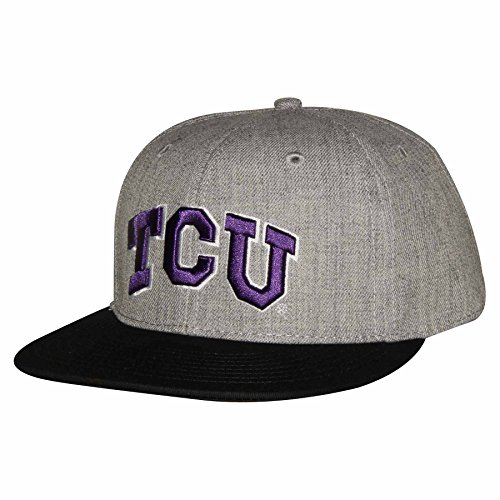 NCAA TCU Horned Frogs Mile High 5280 Flat Brim Snap Back Cap, Adjustable Size, Grey - Horned Snapback