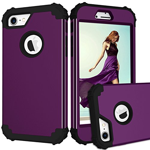 iPhone 7 Case, GPROVA Three Layer Hybrid Soft Silicone and PC Hard Case, Heavy Duty Rugged Bumper Case 360 Degree All-around Full Drop-protective for iPhone 7(Purple/Black) (Iphone Case Speck 4s Purple)