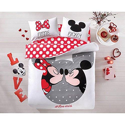 100% Cotton 4pcs Disney Minnie Loves Kisses Mickey Mouse Full Queen Size Duvet Cover Set Bedding Linens
