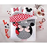 100% Cotton 4pcs Disney Minnie Loves Kisses Mickey Mouse Full Queen Size Duvet Cover Set Bedding Linens