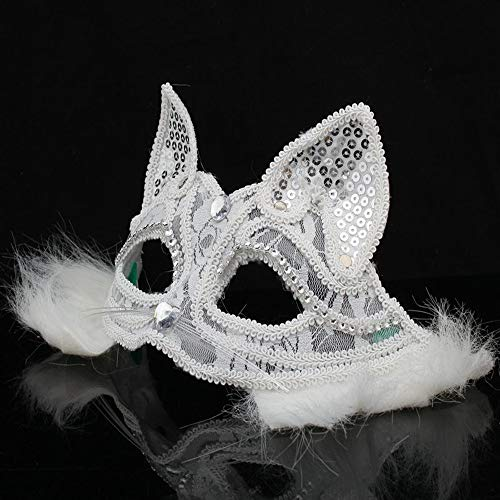 Glumes Cat Lace Eye Mask, Masquerade Mask Women's Sexy Black Halloween Mask Glitter Fancy Gorgeous Masquerade Masks Party Costumes Accessory (❤ White)
