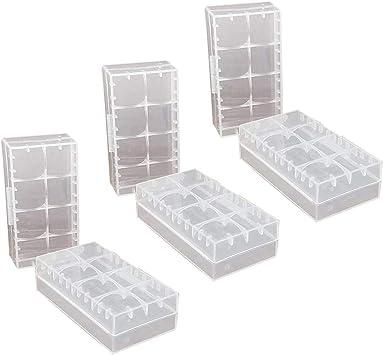 GTIWUNG 6 Pcs 18650/18350/CR123A/17670 Caja de Almacenamiento de batería de celda Caja, Caja de batería de plástico para baterías y baterías Recargables, Caja de Almacenamiento de batería de: Amazon.es: Electrónica