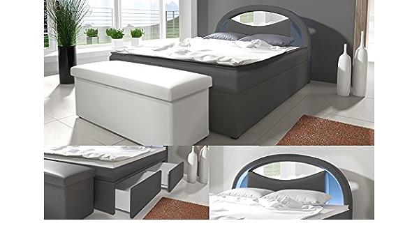 Cama con somier cama Monaco/cajón/Buzón/Hotel cama, grau ...