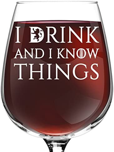I Drink And I Know Things Beer and Wine Glass Set- Cool Present Idea for Bridal Shower, Wedding, Engagement, Anniversary and Couples - Him, Her, Mr. 6