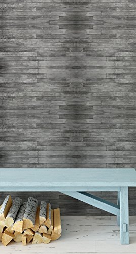 Self Adhesive Removable Wallpaper Gray Distressed Rustic Wood Plank Panels Peel and Stick Wall Decor Washable Vinyl (Wallpaper Artworks)