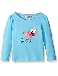 Baby-Girls Applique Skating Bear Long Sleeve Knit Top