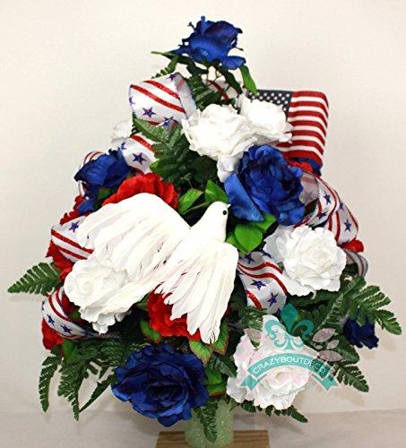 Beautiful Patriotic, Memorial, 4th of July Cemetery Vase Arrangement