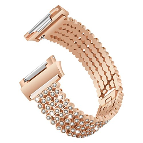 Price comparison product image Outsta for Fitbit Ionic Watch Band, Luxury Crystal Alloy Replacement Watch Band Wrist Strap Accessory Wristbands Smart Watch Band Women Men (Rose Gold)