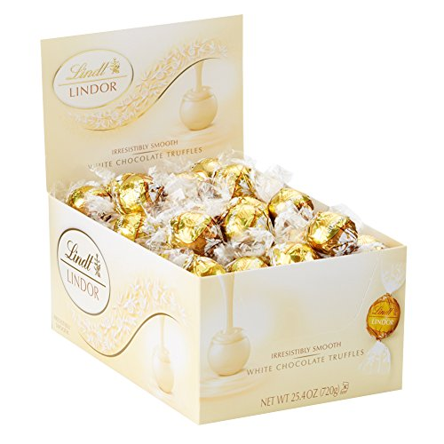 Hot Chocolate Spoons - Lindt LINDOR White Chocolate Truffles, Gluten Free, Kosher, 60 Count Box, 25.4 Ounce