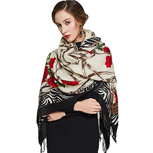 Dana Xu Women's Large Traditional Cultural Wear Pashmina Scarf (White) (White Scarf Wool)