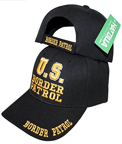 Patrol Cap Khaki (US Border Patrol Mobile Law Enforcement Arm Uniform Style Baseball Cap Hat Black w/outline of the USA, (Black))