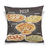 Square Decorative Throw Pillow Case Cushion Cover,Cartoon American Food Hamburger Pizza,Supersoft Pillowcase