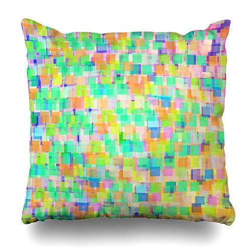 Suesoso Decorative Pillows Case 18 X 18 Inch Block Art Block Cable Cartoon Colorful Digital Explosion Game Gradient Throw Pillowcover Cushion Decorative Home Decor Garden Sofa Bed -