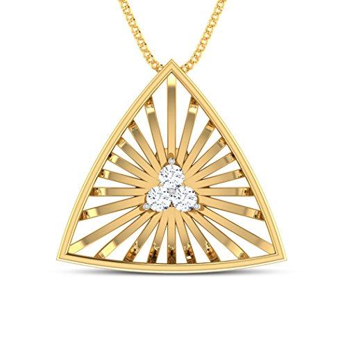 14K Or blanc 0,04CT TW Round-cut-diamond (IJ | SI) Pendentif