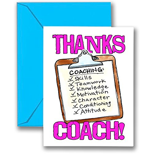 THANKS COACH! Clipboard 3-PACK (Pink) SPORTS POWERCARD Greeting Cards (5x7) 3-Pack Perfect for youth sports - COACH will love it! #AllProfitsToHelpKids …