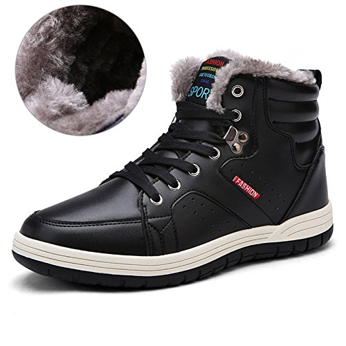 Mens PU Leather Snow Boots With Fully Fur Casual Ankle Sneakers For Outdoor Skiing Driving Walking