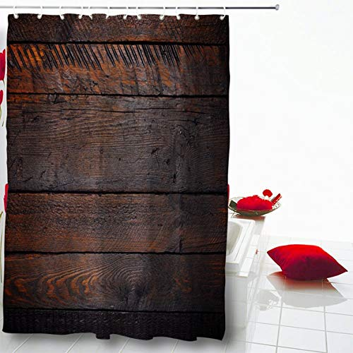 """Ahawoso Shower Curtain 60""""X72"""" Parquet Brown Abstract Rustic Wooden Table Flat Plank Lay Aged Barn Black Blank Board Design Waterproof Polyester Fabric Home Decorative Barhroom Set with Hooks"""